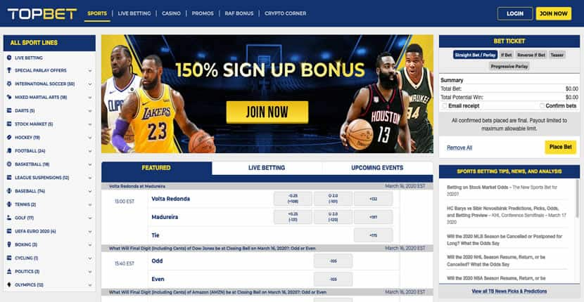 Topbet Sportsbook Promotions Page